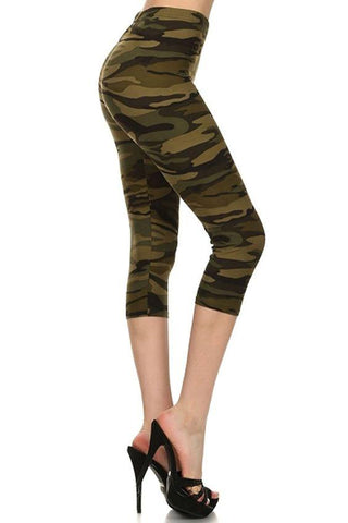 Women's Camo Capri Leggings Camouflage Army Green Leggings MomMe and More