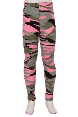 Girl's Pink Camouflage Leggings Army Camo: S and L Leggings MomMe and More
