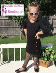 Girls High-Low Black Dress With Side Buttons dress MomMe and More