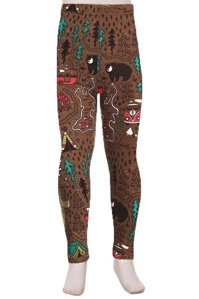 Girl's Camping Bear Fox Owl Leggings Brown: S and L Leggings MomMe and More