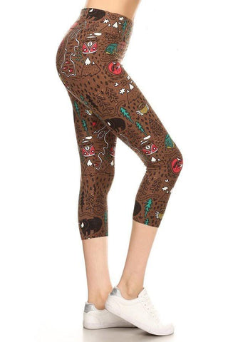 Womens Camper Bear Capri Leggings: Yoga Waist Leggings MomMe and More