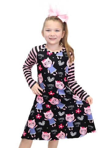 Girl's Cat in Glasses Printed Dress: Black/Pink dress MomMe and More