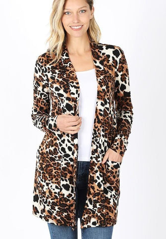 Women's Cheetah Leopard Pocket Cardigan: Plus Cardigan MomMe and More