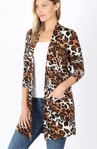 Women's Cheetah Leopard Pocket Cardigan Cardigan MomMe and More