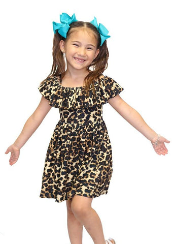 Girl's Cheetah Printed Dress: Brown/Black dress MomMe and More