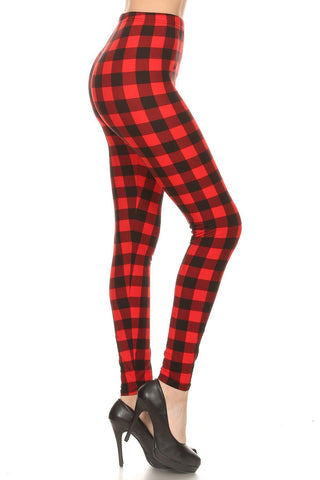 Women's Christmas Red Plaid Leggings Leggings MomMe and More