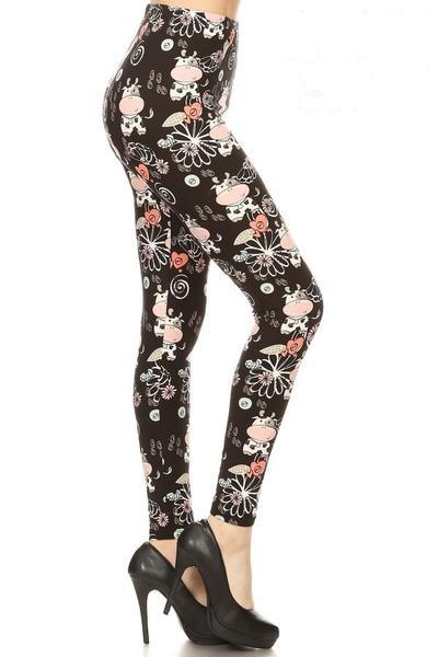 Women's Cow Daisy Printed Leggings Black Pink: OS and Plus