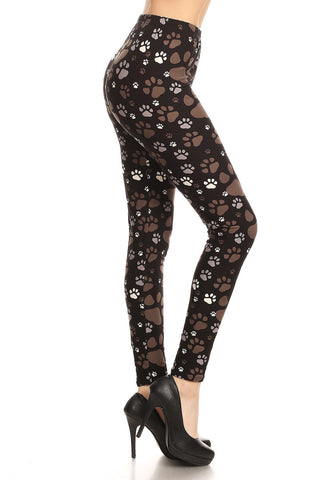Women's Dog Paw Print Leggings, Black/Brown: OS and Plus Leggings MomMe and More