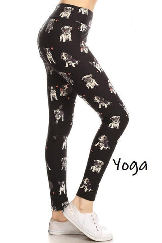 Women's Multi Dogs Yoga Leggings: OS and Plus Leggings MomMe and More