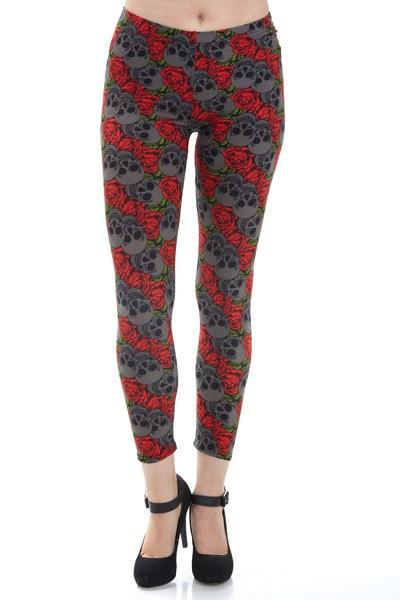 Junior's Teens Skull Red Rose Leggings: OS and Plus - MomMe and More Matching Mommy and Me Clothing