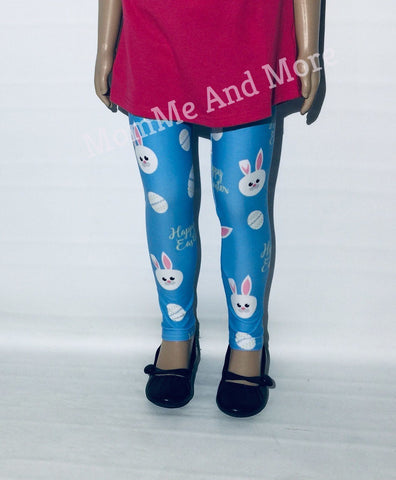 Girl's Easter Bunny Printed Leggings Blue: S and L Leggings MomMe and More