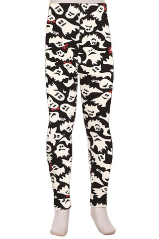 Girl's Halloween Ghost Leggings Black/White: S and L Leggings MomMe and More