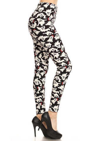 Women's Halloween Ghost Leggings Black/White: OS and Plus Leggings MomMe and More