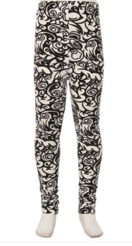 50% Off Girl's Scroll Vine Leggings Black/White: S and L Leggings MomMe and More