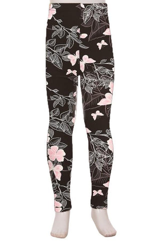 Girl's Pink Butterfly Leggings Leggings MomMe and More