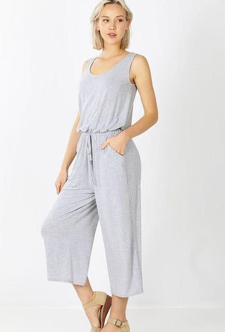 Women's Tank Top Capri Jumpsuit: Gray Jumpsuit MomMe and More