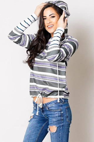 Womens Striped Hooded Sweatshirt Top: Green/Gray Tops MomMe and More