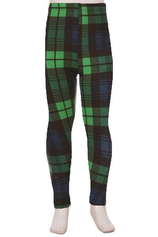 Girls Christmas Green Plaid Leggings Leggings MomMe and More
