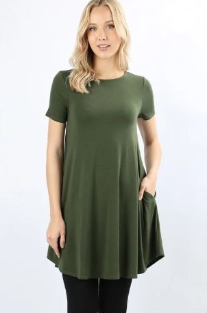 Women's Olive Green Top Short Sleeve Pocket Tunic Dress Tunics MomMe and More