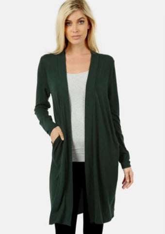 Women's Green Pocket Cardigan: Plus Cardigan MomMe and More