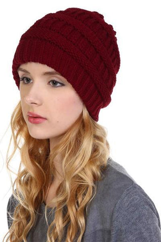 Women's Beanie Cable Knit Winter Hat: Mocha/Maroon MomMe and More
