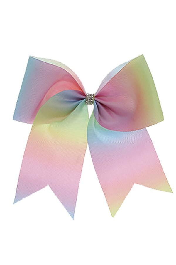 Girl's JoJo Inspired Large Cheer Hair Bow: Rainbow Ombre accessories MomMe and More