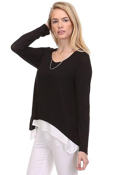 Women's Layered Tunic Top Black/White: S/M/L - MomMe and More