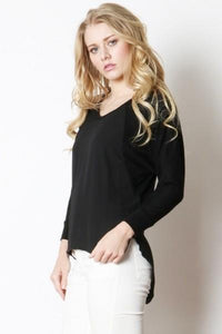 50% Off Women's Solid Black Sweater Semi-Sheer Top Tops MomMe and More