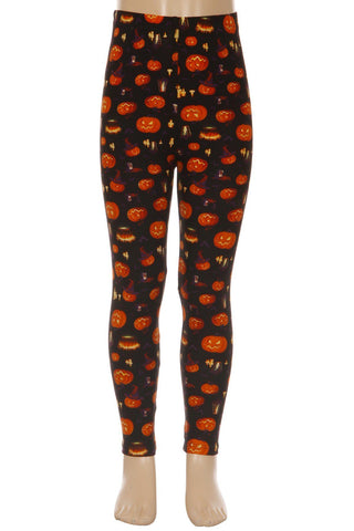 Girl's Halloween Pumpkin Lantern Leggings: S and L Leggings MomMe and More