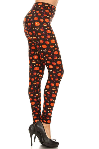 Women's Halloween Pumpkin Lantern Leggings: OS and Plus Leggings MomMe and More