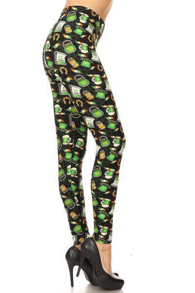 Women's St. Patrick's Day Luck of The Irish Leggings Black/Green MomMe And More