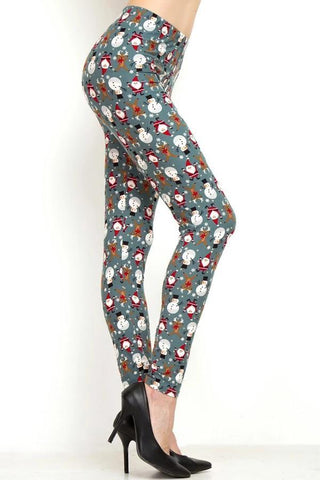 Women's Christmas Santa Snowman Leggings Gray: OS and Plus Leggings MomMe and More
