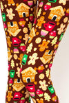 Women's Christmas Gingerbread Leggings Brown: OS and Plus Leggings MomMe and More