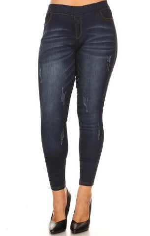 Women's Jeggings Solid Skinny Dark Wash Jeans: Plus 1xl/2xl/3xl Jeans MomMe and More