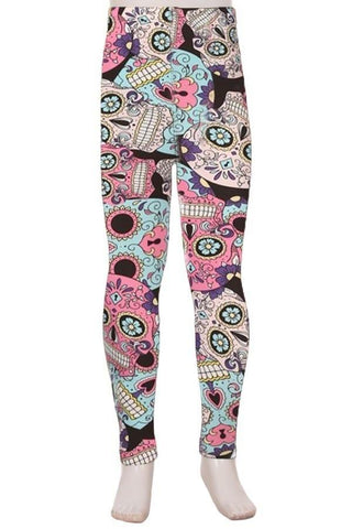 Girl's Sugar Skull Printed Leggings Pink: S and L Leggings MomMe and More