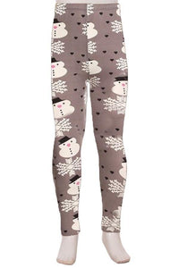 Girl's Snowman & Snowflake Printed Leggings Gray: S/L - MomMe and More