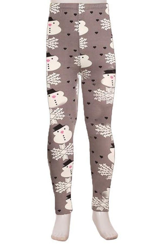 Girl's Snowman Printed Leggings Gray: S and L Leggings MomMe and More