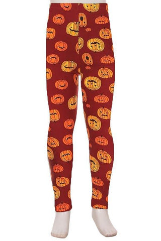 Girl's Thanksgiving Pumpkin Leggings Orange/Black: S/L Leggings MomMe and More