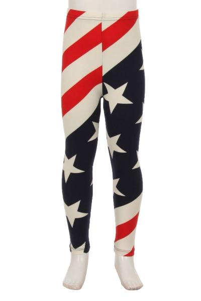 Girl's American Flag 4th Of July Leggings Red/White/Blue: S and L Leggings MomMe and More