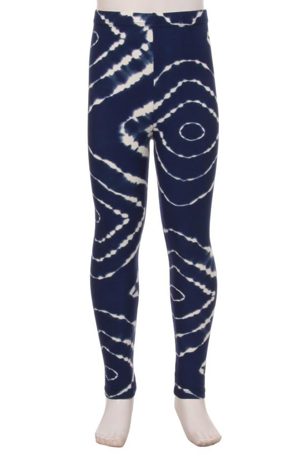 Tie Dye Leggings for Girls Tie-Dye Blue & White:  S/L - MomMe and More