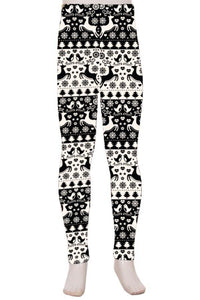 Girl's Reindeer Leggings Christmas Holiday Black/White: S/L - MomMe and More