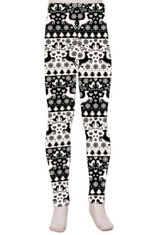 Girl's Christmas Reindeer Printed Leggings: S and L Leggings MomMe and More