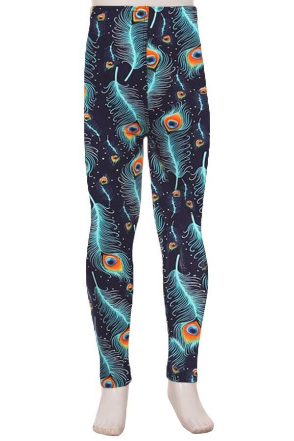 Girl's Peacock Leggings Feathers Blue/Orange: S/M/L - MomMe and More