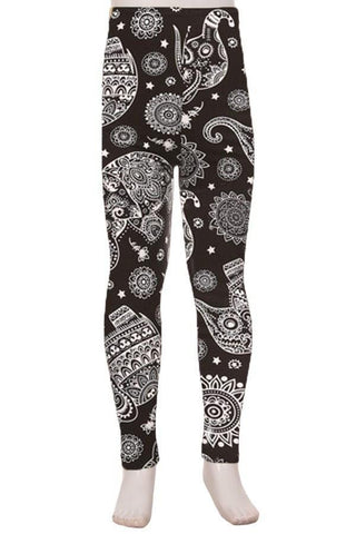 Girl's Elephant Printed Leggings Paisley Black:White: S/L Leggings MomMe and More