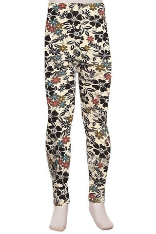 Girl's Daisy Flower Printed Soft Leggings: S and L Leggings MomMe and More