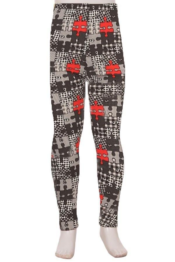 Girls Puzzle Pieces Printed Leggings: S and L Leggings MomMe and More