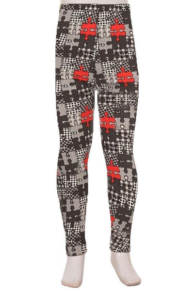 Leggings for Girls Puzzle Pieces, Black/Red/White, S/L.