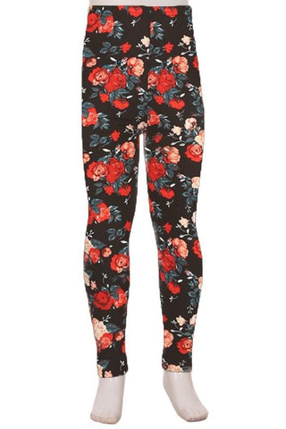 Girl's Rose Printed Leggings Red: S and L Leggings MomMe and More