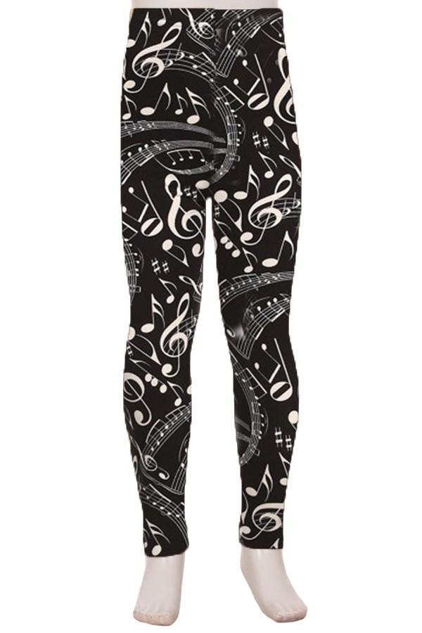 Girl's Music Note Printed Soft Leggings Black Leggings MomMe and More