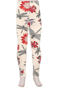 Girl's Dragonfly Leggings Spring Flowers Ivory/Red/Purple: S/L - MomMe and More